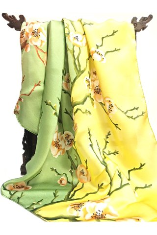 100% Silk Scarf Smooth and Soft Big Square Scarf For Female 10